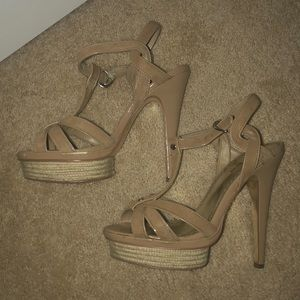 Bebe nude tan strapping sandals heels size 8